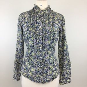J.Crew Floral Green/Black Button Down Size S